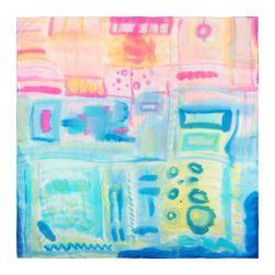 Hedvábný šátek ručně malovaný Město měst