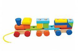 Vlak + 2 vagóny drevo ťahacie stavebnice 19 dielikov v krabici 37x12x9cm 18m + RM_82084089