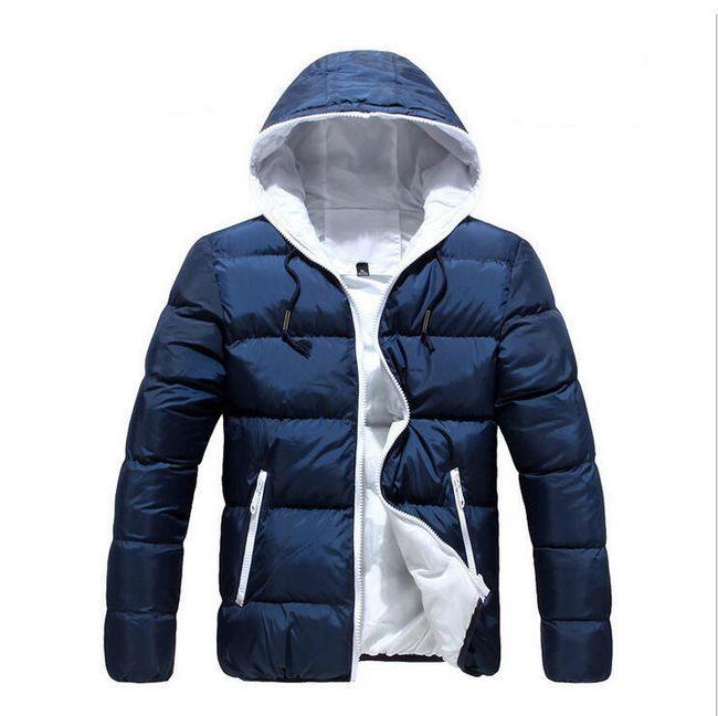 Pánská zimní bunda s kapucí - modrá-velikost č. 5 1