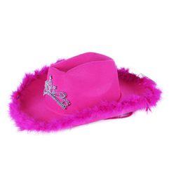 Klobouk kovbojský růžový s korunkou dámský RZ_206984