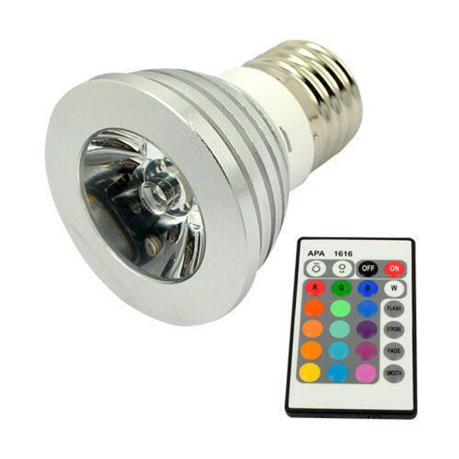 3W Multibarevná bodová LED žárovka s dálkovým ovladačem 1