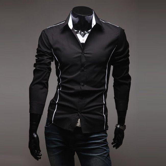Pánská elegantní košile SLIM FIT - Černá, velikost 5 1