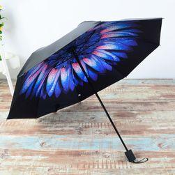 Parasolka z niebiesko-fioletowym kwiatem