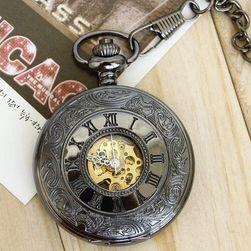 Джобен часовник в стимпънк стил - черно