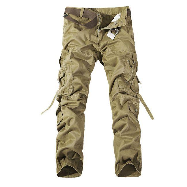 Pánské kalhoty s kapsami - Khaki - 2 1