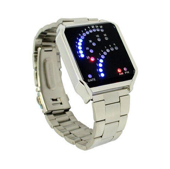 Binární hodinky s 29 LED - stříbrná barva 1