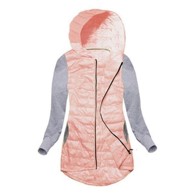 Dámská bunda s mikinovými rukávy - Růžová - velikost č. 2 1