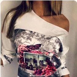 Krásné šaty s odhaleným ramenem a nádherným potiskem