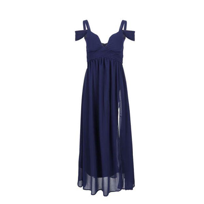 Společenské šaty s rozparkem - Modrá - velikost č. 3 1