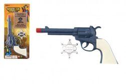 Rewolwer pistoletowy składany plastikowy 23x12cm z odznaką szeryfa na kartonie RM_00850414