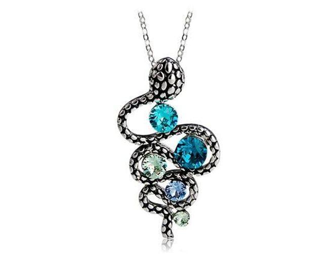 Náhrdelník s přívěskem ve tvaru hada zdobený modrými kameny 1