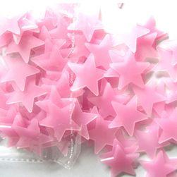 Комплект светещи 3D звезди на стена в син или розов цвят - 100 бр