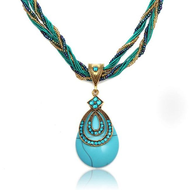 Izrazna vintage ogrlica tirkizne barve 1