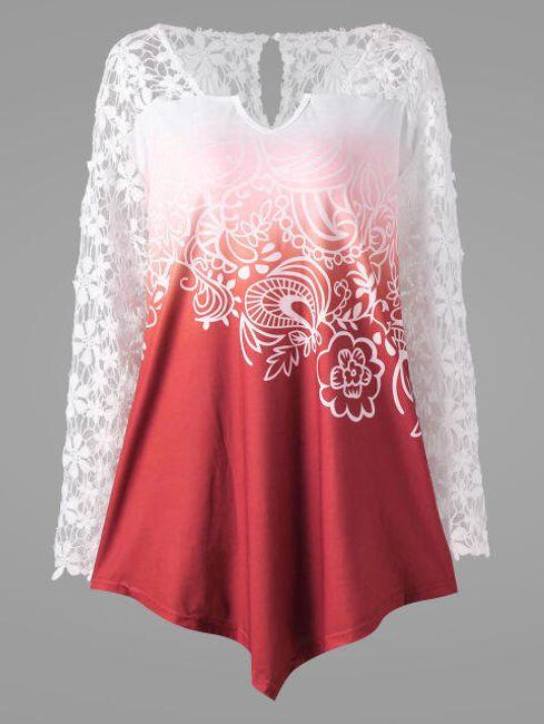 Elegantní asymetrická halenka s květinovými rukávy - Červená_velikost č. 9 1
