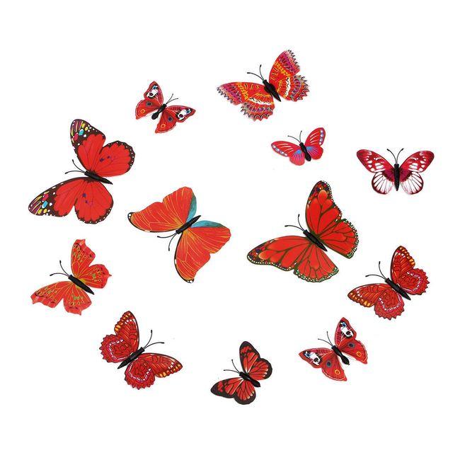 Dekorativni leptiri u crvenoj boji - 12 komada 1