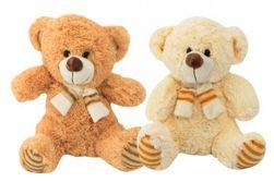 Medveď sediaci so šálom plyš 35cm 2 farby 0+ RM_56780228