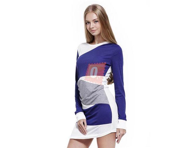 Dámské modrobílé šaty s dlouhými rukávy  1
