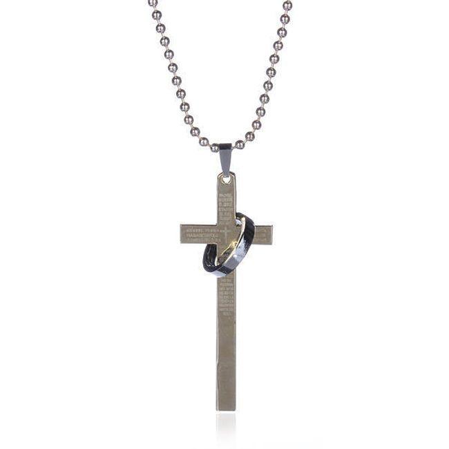 Męski łańcuszek z wisiorkiem w kształcie krzyża z pierścionkiem 1