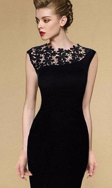 Elegantní večerní šaty s krajkovaným detailem 1