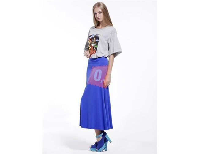 Dámská bavlněná dlouhá sukně - modrá 1