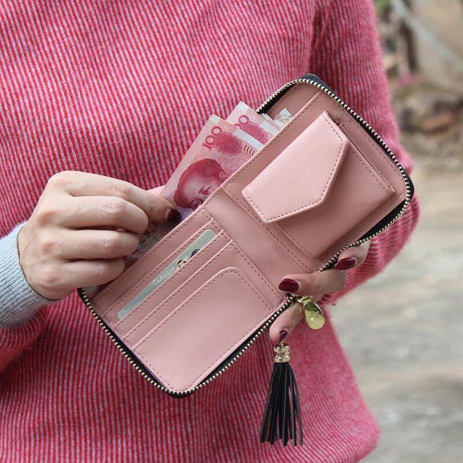 Női pénztárca  kis mintával  bojttal