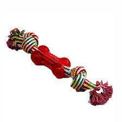 Играчка за хапене за кучета - въже с гумено кубче