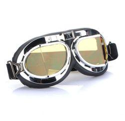 Ochelari de motocicletă argintii - lentile galbene