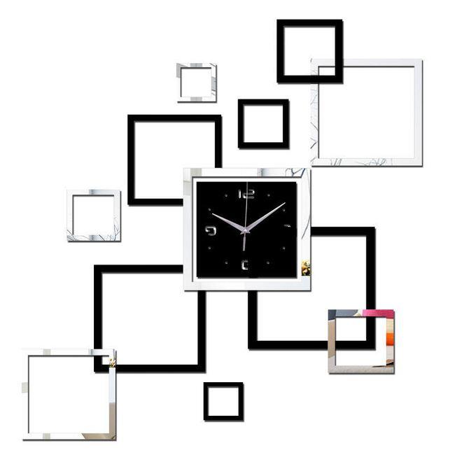 3D stenska ura - črno-bela 1