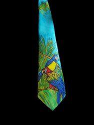 Hedvábná ručně malovaná kravata Papoušek