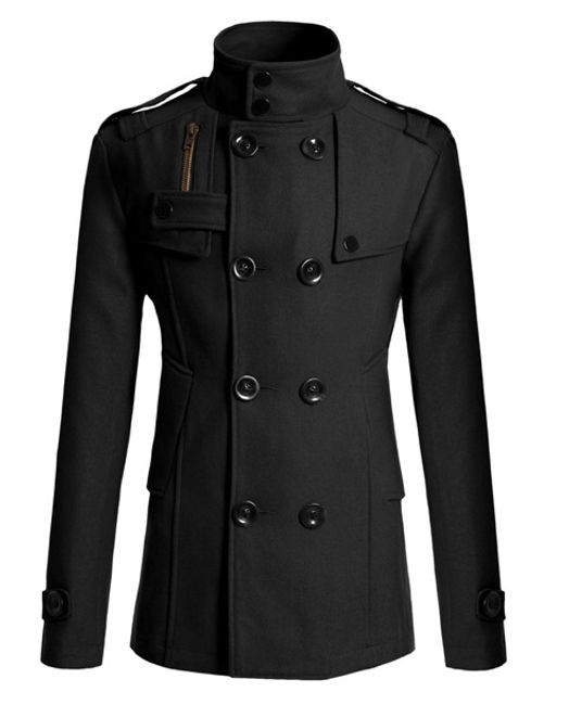 Elegantní pánský kabát Tobias - Černá-XL 1