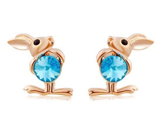 Náušnice ve tvaru králíčka s modrými kameny 1