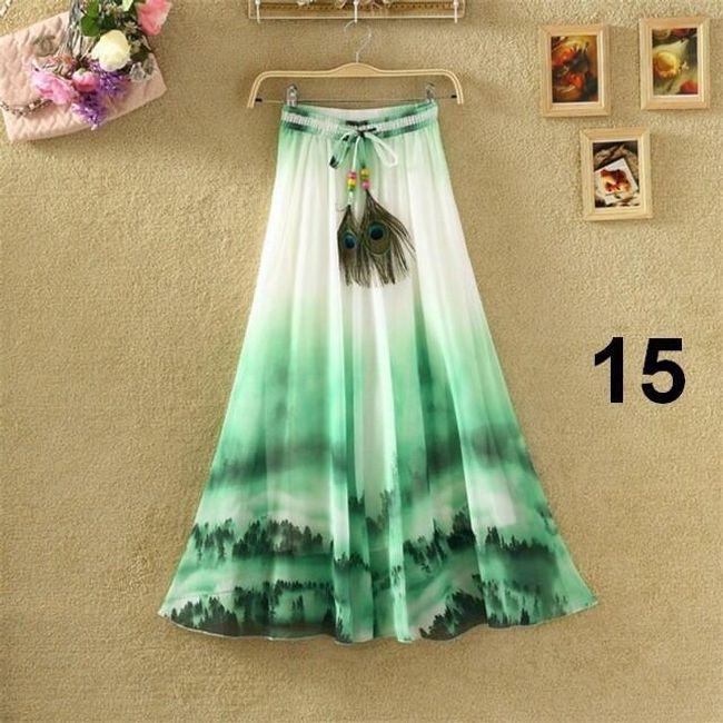 Lehoučká dlouhá sukně na jaro i léto - varianta 15 1
