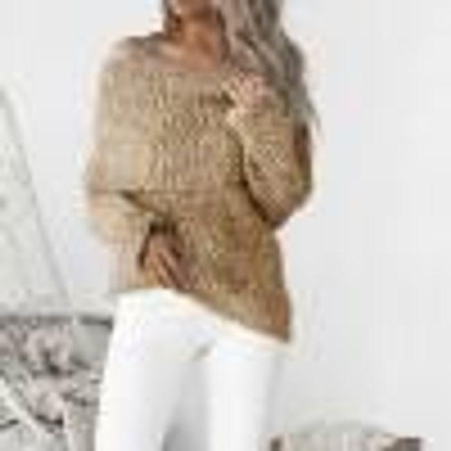 Hřejivý svetr s odhalenými rameny - Zlatá-velikost č. 2 1