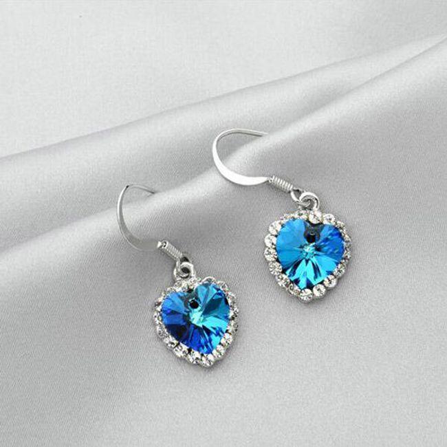 Eleganckie kolczyki w kształcie serca z kamieniem - 3 kolorów 1