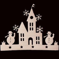 Karácsonyi matrica - ház hóemberekkel