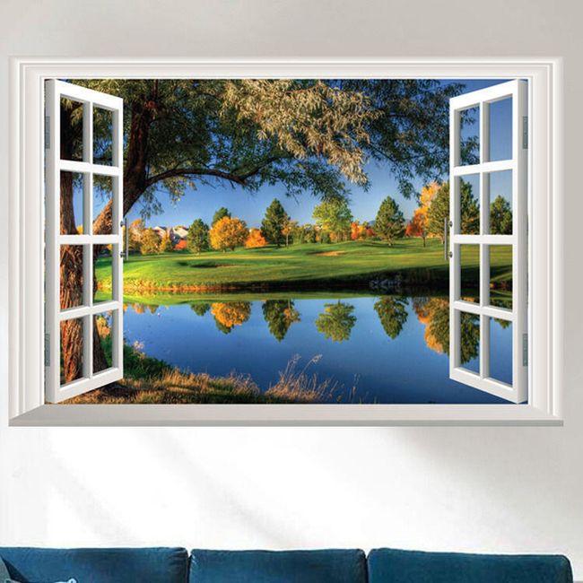 3D stenska nalepka - okno s pogledom na pokrajino 1
