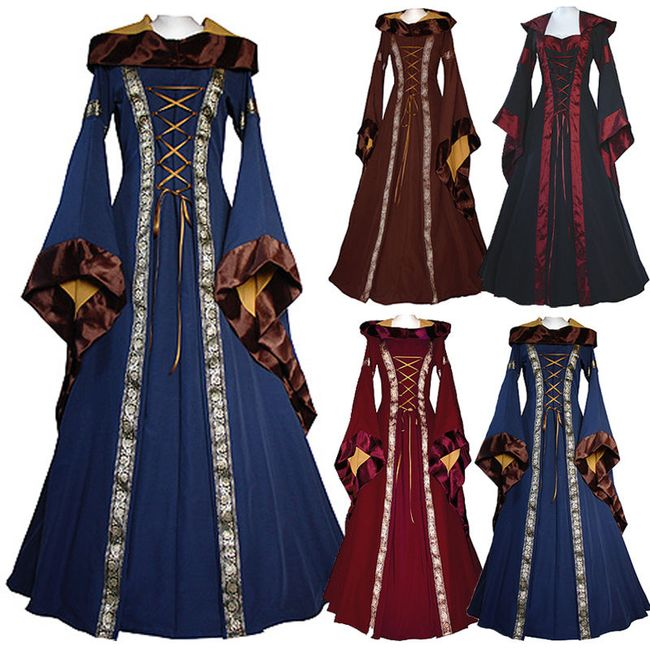 Šaty ve středověkém renesančním stylu - Vínová-velikost č. 2 1