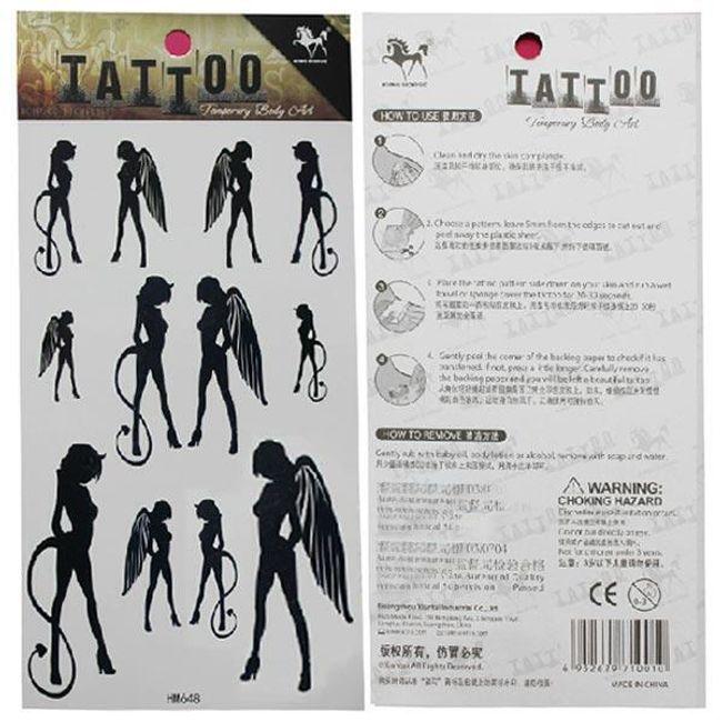 Переводная татуировка- Ангел и чёртик 1