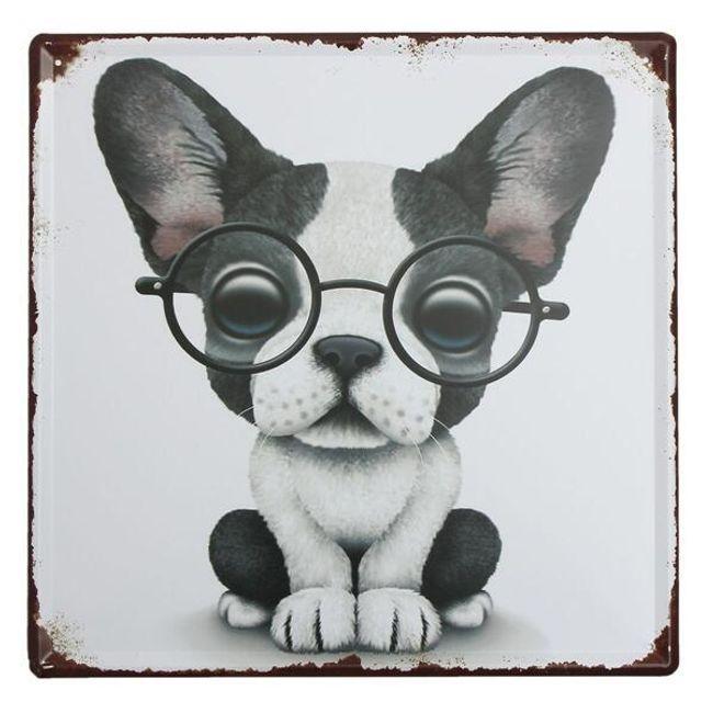 Fém cédula- kutya szemüvegben 1