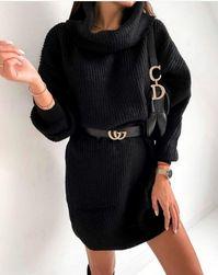 Hosszú kötött pulóver garbóval - fekete