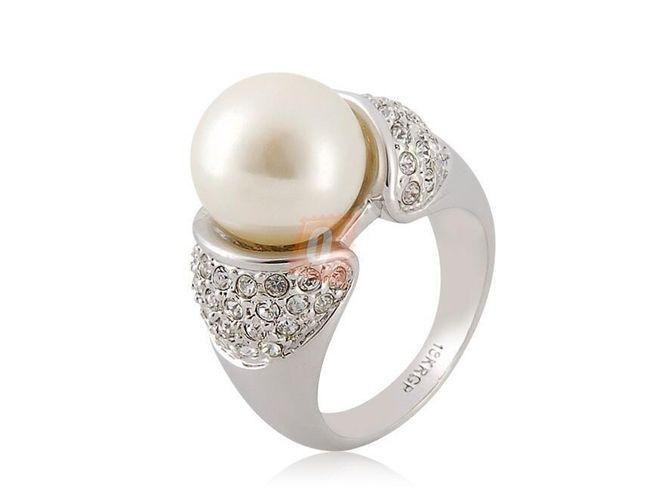 Prstýnek s perlou a kamínky - stříbrná barva 1
