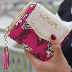 Dámská peněženka zdobená květinami
