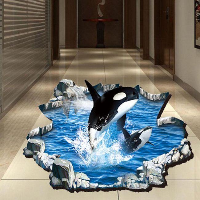 Autocolant 3D pentru podea - balene ucigașe 1
