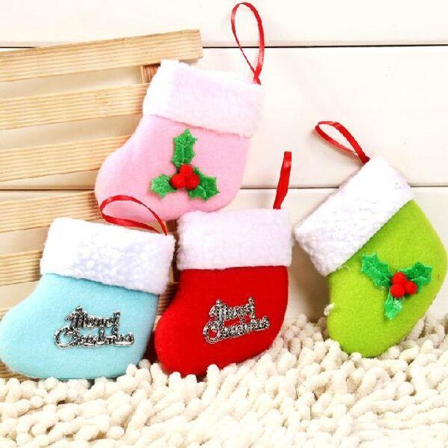 Barevná ponožka - vánoční dekorace 1