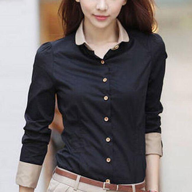 Dámská košile s béžovými manžetami a límečkem 1
