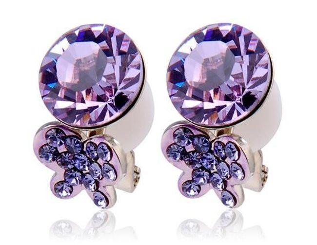 Náušnice s fialovými kamínky - na klip 1