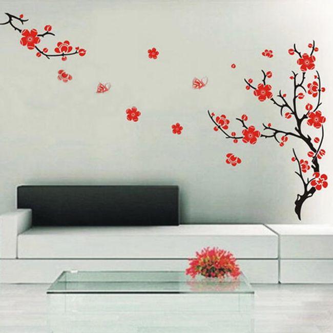 Naklejka na ścianę - drzewo z czerwonymi kwiatami 1