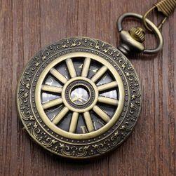 Zegarek kieszonkowy z motywem koła - 2 długości łańcuszka