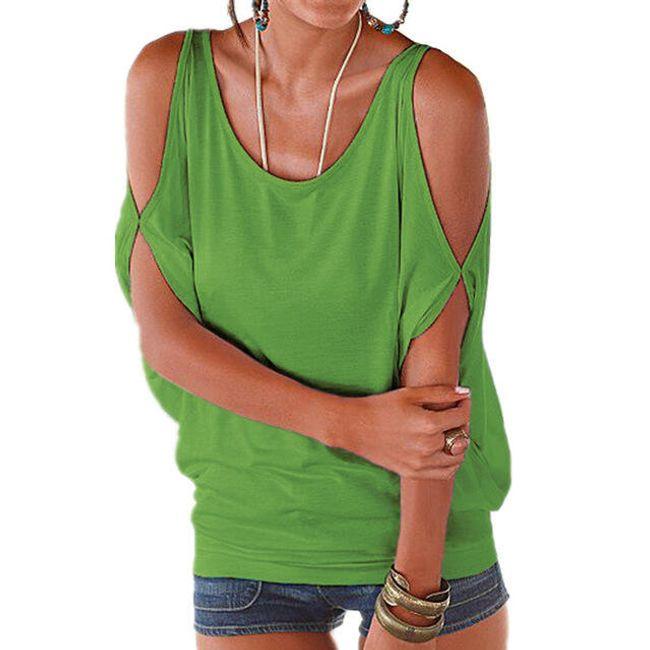 Dámské plus size tričko s otvory na ramenou - světle zelená, velikost 2 1