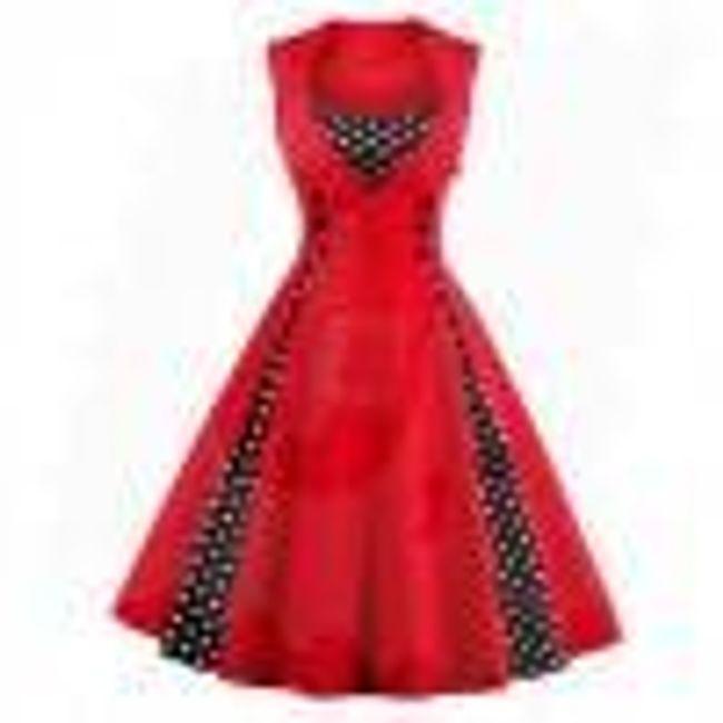 Retro šaty s puntíky - Červená-velikost č. 6 1